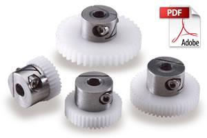 1.2 N-m 8 mm Hub Dia 5 X Spur Gear 3 mm 16 Teeth Injection Moulded Acetal
