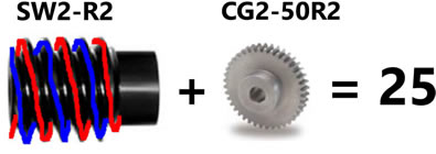 Comparison of Sizes between Worm Gear and Spur Gear