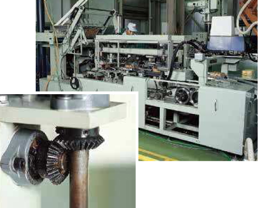Automatic packaging machine (Miter gears inset)